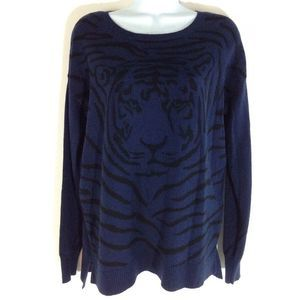 Crewneck Pullover Sweater Tiger Face Size S